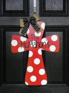 Wooden Cross Door Hanger...I would like one in Christmas Colors