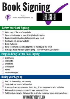 Your Book Signing Checklist! | Author Marketing Experts, Inc. Book Launch Marketing #booklaunchmarketing