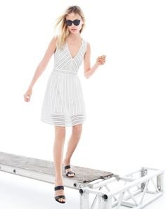 MAY '15 Style Guide: J.Crew women's striped eyelet dress and Lena slide heels.