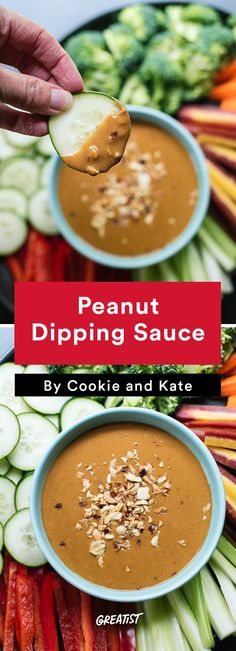 cookie and kate game day: Peanut Dipping Sauce Dips, A Food, Food And Drink, Peanut Dipping Sauces, Vegan Recipes, Cooking Recipes, Vegan Sauces, Healthy Superbowl Snacks, Football Food