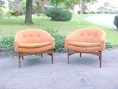 Pair Vintage Mid Century Modern Lounge Chairs $1495