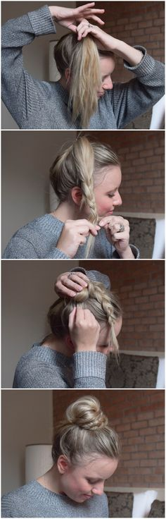 BRUN: Half Braid, Half Bun – Halb Dutt, Halb Geflochten BRUN – helped braid, helped bun … so fast and easy can imitate the sweet Dutt each. Step-by-step instructions-braided hair-hair braiding-hairstyle-hairstyle-practical hairstyle for everyday life Cute Simple Hairstyles, Pretty Hairstyles, Braided Hairstyles, Hairstyle Ideas, Hair Ideas, Easy Hairstyle, Hairstyle Tutorials, School Hairstyles, Hairdos