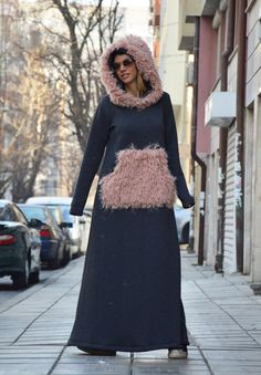Winter Extravagant Maxi Hooded Dress Women Casual by SSDfashion