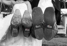 """He's Mine She's Mine Wedding Shoe Stickers Decals. Featuring silver crystals with red crystals formed in hearts to dot the """"i""""s.  @shopYHEA #weddingshoes #hesmine"""