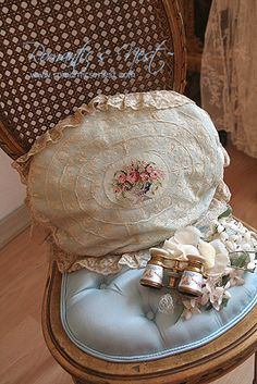 French lace pillow with petit point center