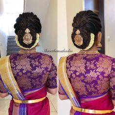 What a beautiful low bun with real flower gajra & juda pin! Care however should be taken before adopting such hairstyles, as due to it's high static charge, it will cause phlegm to move up in the throat, causing the voice to quaver & a frequent urge to clear the throat. A heavy chabi chhalla with a long & wide hook if inserted at the edge of the pleats of the saree, will reduce this problem as it's hook will activate the acupressure points that act to keep the throat clear.