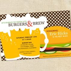 Sweet Wishes 20 Burgers & Brew Bachelor Party by sweetwishesstore, via Etsy.