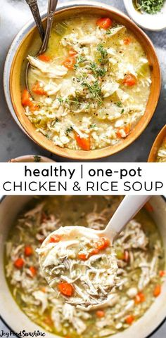 This Chicken and Rice Soup is flavorful, hearty, healthy and it's made in one pot in under an hour! This chicken and wild rice soup is a perfect meal for busy, chilly nights, and it makes great leftovers & freezes well too! Best Soup Recipes, Beef Recipes For Dinner, Chowder Recipes, Healthy Soup Recipes, Chili Recipes, Easy Recipes, Healthy Food, Family Recipes, Amazing Recipes