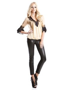 Silk muslin top with black lace and satin details & stretch pants with leatherette side details