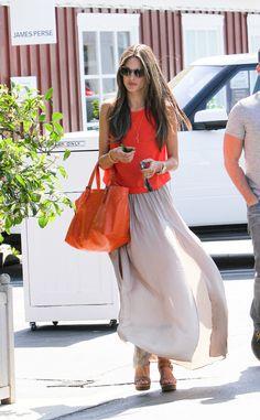Alessandra Ambrosio : Maxi Skirt Street Style