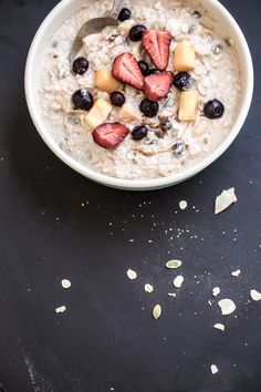 Overnight spiced Bircher muesli with summer fruits