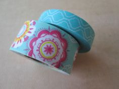 Washi Tape  Double Roll  Aqua and Floral Prints by HazalsBazaar, $5.00