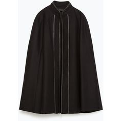 Zara Contrasting Piped Cape (€150) ❤ liked on Polyvore featuring outerwear, black, zara cape, black cape, cape coat and black cape coat