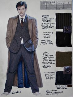 Ten's suit costume details and design as recorded by DW costume designer Louise Page (via Reddit /r/doctorwho)