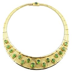 Iconic Modernist Burle Marx Peridot Gold Collar | From a unique collection of vintage choker necklaces at https://www.1stdibs.com/jewelry/necklaces/choker-necklaces/