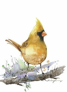 Yellow cardinal painting by Nitin Singh Watercolor Bird, Watercolor Artists, Watercolor Animals, Artist Painting, Painting Prints, Watercolor Paintings, Canvas Prints, Watercolors, Thing 1