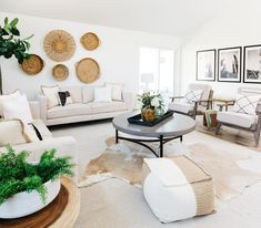 Modern Boho Living Room featuring the Stratus Cocktail Table, photo via Living Room Decor Tips, Living Room Decor Inspiration, Boho Living Room, Room Wall Decor, Living Room Modern, Home And Living, Living Room Designs, White Couch Living Room, White Wall Decor