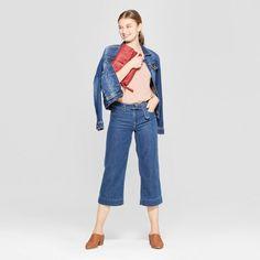 829d357a775 Women s High-Rise Side Belted Wide Leg Crop Jeans - Universal Thread Medium  Wash 00