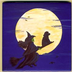 Newfoundland Dog and Witch Halloween Art Tile By by caninepainter, $20.00