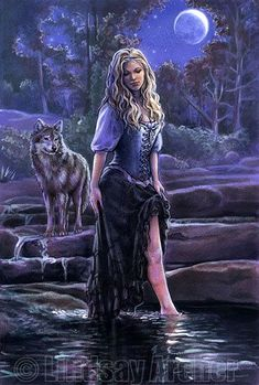 Vrouw en wolf fantasy by Lindsay Archer - Sisters-of-the-Moon Fairy. Wolf Images, Wolf Pictures, Medieval Combat, Tier Wolf, Wolves And Women, Moon Fairy, Fantasy Wolf, Fantasy Art Women, Aradia
