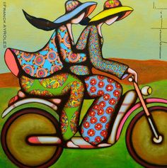 Franck Ayroles Cute Easy Drawings, Bicycle Art, French Artists, Art Plastique, Body Painting, Painting Art, Paintings, Indian Art, Figurative Art