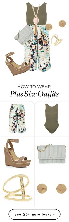 """""""Plus size summer chic in culottes"""" by kristie-payne on Polyvore featuring New Look, PYRUS, BCBGMAXAZRIA, DKNY, Jennifer Fisher and Sydney Evan"""