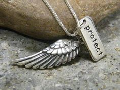 small angel wing and word tag protect sterling silver necklace