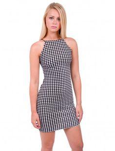 Womens Fashion Dogtooth Strappy Bodycon Dress   #londonfashion #wholesaler #dogtooth #strappydress #dress #bodycon #newarrival