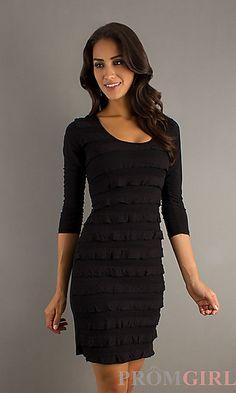 Three Quarter Length Black Dress at PromGirl.com