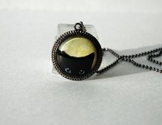 """1"""" Round Glass Pendant Necklace - Black Cat with Vintage Silver Pendant Tray. $10.75, via Etsy."""
