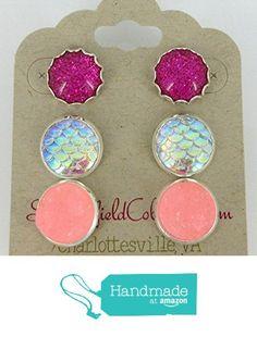 Trio Silver-Tone Stud Earrings Pink Faux Druzy Stone Mermaid Scale Glitter from Summerfield Collection https://www.amazon.com/dp/B01MZGVFKK/ref=hnd_sw_r_pi_dp_3mnLybAGFPN2C #handmadeatamazon