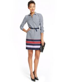 Tommy Hilfiger Printed Colorblocked-Hem Belted Shirtdress