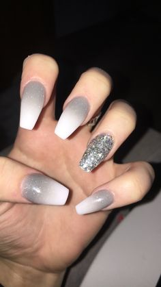 Grey ombre with silver accent nail AcrylicNailsOval accent acrylicnailsoval - Grey ombre with silver accent nail AcrylicNailsOval accent acrylicnailsoval grey Nail ombre - Glitter Accent Nails, Gray Nails, White Nails, White Coffin Nails, Stiletto Nails, Nail Color Combos, Nail Colors, Graduation Nails, Accent Nail Designs