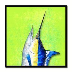 Swordfish Fish Head Art Green Canvas Print Picture Frame Wall Home Decor Nautical Fishing Gifts