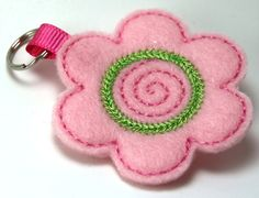 Flower Embroidered Felt zipper pull, key chain or luggage tag - You Choose Color. $3.75, via Etsy.