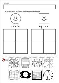 MEGA Math & Literacy Worksheets & Activities - Down on the Farm. 100 Pages in total!! A page from the unit: cut and paste sorting by shape - circles and squares.