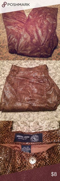 Gorgeous Venezia Snakeskin Jeans EUC. Venezia Jeans Clothing Co. Womens Plus size snake skin pants/ jeans. They are gorgeous and would look great with a plain shirt and heels dressed up! Size 20. Check out my other listings for bundle deals! Venezia Pants