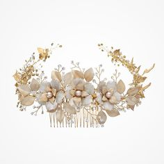 Enamel blossoms and antique gold bridal halo | Fiorentina headpiece | Stephanie Browne