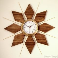 "DIY Mid-Century Clock tutorial -------uses a 24"" piece of wood and cuts with a jigsaw"