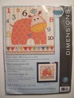 """Dimensions BABY HIPPO 123 Counted Cross Stitch Kit  10 x 10"""" Personalize It! #Dimensions #CountedCrossStitchKit"""