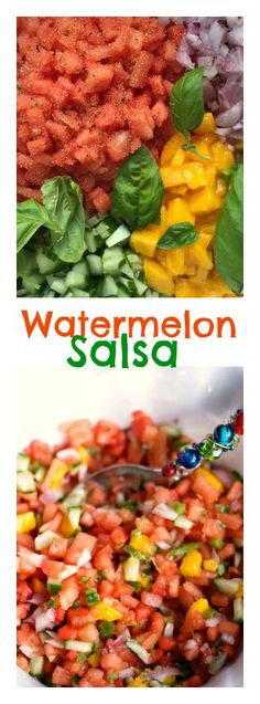 Looking for an easy salsa recipe? Mix your favorite salsa ingredients together with diced watermelon and mango, for the best watermelon salsa recipe. Watermelon Salsa, Watermelon Recipes, Mexican Food Recipes, Vegan Recipes, Cooking Recipes, Ethnic Recipes, Cooking Tips, I Love Food, Good Food