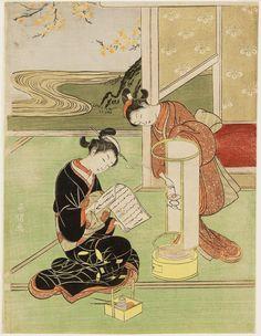 坐鋪八景 行燈の夕照 Sunset Glow of the Lamp, from the series Eight Views of the Parlor (Zashiki hakkei)