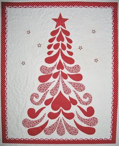 Christmas Wall Hanging quilted Feathers by PicketFenceFabric