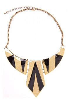 Shape Bib Necklace in BLACK AND GOLD #4675 - colette by colette hayman