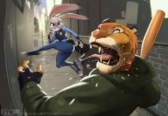 "Zootopia - Judy Hopps bringing the hurt by MLeth.deviantart.com on @DeviantArt Okay so this was just going to be a quicky but then ReneeViolet and RoninDude said ""Make a background, it'll be cool!"" and I says ""No"" and they says ""Yes"" and I says ""Okay"" and here we are now! Was watching Zootopia on my free time the other day and thought it'd be fun drawing Judy kicking something and so I did!   #alley #badass #city #cool #cop #criminal #disney #jumping #kicking #police #spit #tiger #mleth"