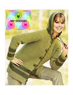 Digital Download 70's Crochet Hoodie Jacket Pattern - Retro Warmth for Fall Crocheted Coat PDF Pattern - Crochet Supplies Crochet Patterns