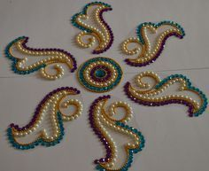 Ribbon Embroidery For Beginners beautiful OHP rangolis by Nikita Creations Pearl Embroidery, Tambour Embroidery, Bead Embroidery Patterns, Silk Ribbon Embroidery, Hand Embroidery Designs, Embroidery Kits, Embroidery For Beginners, Embroidery Techniques, Bordados Tambour