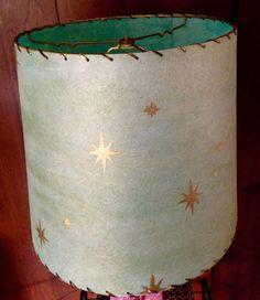 Pale Blue and Gold Starburst Fiberglass Whipstitch Lampshade Lamp Shade Retro Mid Century Modern Lighting