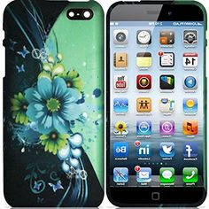 """myLife Blue, Green, and Black {Tropical Daisies and Butterfly Waves} 2 Piece Snap-On Rubberized Protective Faceplate Case for the NEW iPhone 6 (6G) 6th Generation Phone by Apple, 4.7"""" Screen Version """"All Ports Accessible"""" myLife Brand Products http://www.amazon.com/dp/B00U1OR2L0/ref=cm_sw_r_pi_dp_Jhifvb1CQJN9H"""