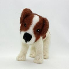 Jack Russell Terrier Dog Needle Felted Sculpture. I want to learn how to felt animals!